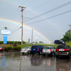 Yes, that is a double (DOUBLE) rainbow above The Dirty 330. It's lucky I have photographic proof.