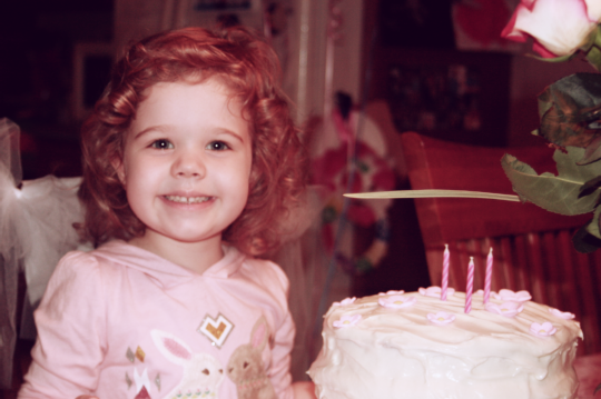 Last year on her third birthday -- so much pink, so much happiness.